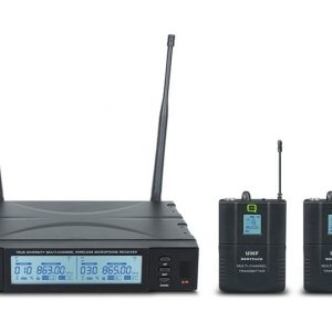 Q-Audio QWM 1960 V2 BP UHF Dual Channel Wireless Microphone