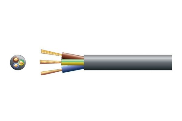 3 Core 6A Mains Cable Black Per Meter - 804.401