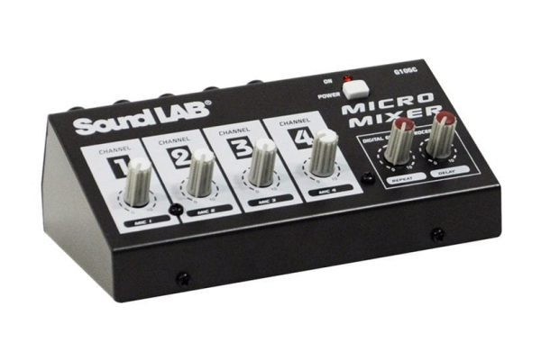 Soundlab G105C 4 Channel Mono Microphone Mixer With Effects