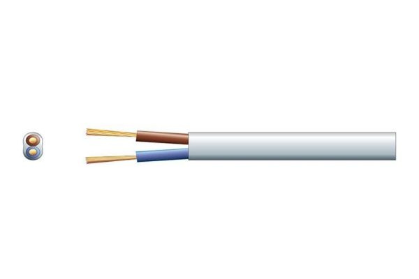 2 Core 3A Mains Flat Mains Cable White Per Meter - 804.365
