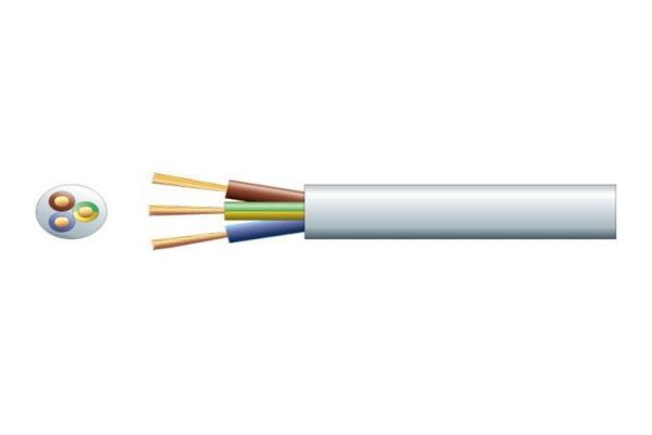 3 Core 13A Mains Mains Cable White Per Meter - 804.404