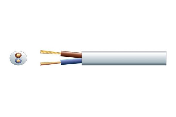 2 Core 6A Mains Cable White Per Meter - 804.377