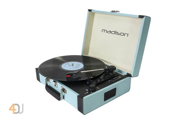 Madison Vintage Turntable Case With Bluetooth Blue